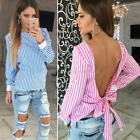 Fashion Women Lady Sexy Backless Striped Casual Long Sleeve T-Shirt Top Blouse