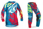 NEW 2017 FLY RACING KINETIC RELAPSE GEAR COMBO TEAL/RED/HI-RES ALL SIZES