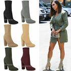 Womens Ladies Block High Heels Stretchy Lycra Ankle Boots Wide Fit Celeb Size