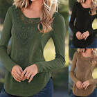 Women's Ladies Loose Long Sleeve Lace Tops T-shirt Crochet Blouse Shirt New