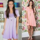 Women Loose Short Sleeve V Neck Cocktail Evening Party Casual Mini Dress