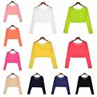 Summer Women Long Sleeve Crop Top Party Casual T-shirt Tops Slim Blouse Fashion