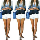 UK 8-20 Womens Ladies Casual Long Sleeve V Neck Mix T Shirt Loose Top Blouse T