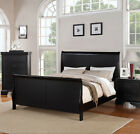 NEW SEVILLA BLACK FINISH PINE WOOD QUEEN KING PANEL SLEIGH BED