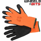 12 24 36 PAIRS HI VIZ THERMAL WINTER BUILDERS LATEX RUBBER WORK GLOVES GARDENING