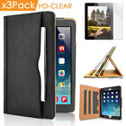 Luxury Stand Case Cover for iPad 2 3 4 Air Mini Pro 3pcs Clear LCD Screen Films