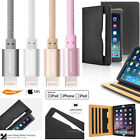 iPad Air Premium Leather Wallet Case Card Slots Lightning USB Cable Screen Films
