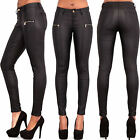 NEW LADIES WOMEN BLACK BROWN LEATHER LOOK LEGGINGS STRETCHY TROUSERS SIZE 6-16