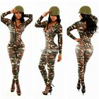 Sexy Women Rompers Long Sleeve Camouflage Bodycon Jumpsuit Sports Casual N98B