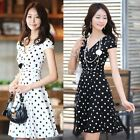 Ladies Womens V Neck Short Sleeve Tunic Spotted Polka Dots Dress Skirt N98B New