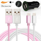 Certified Lightning Sync Charging Cable for Apple iPhone+ Dual USB Car Charger