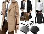 British Men Casual Slim Fit Long Winter Warm Double Breasted Peacoat Coat Jacket
