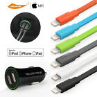 2pcs Lightning USB Charger Sync Data Cable for iPhone 7 6s 5 &2-Port Car Charger