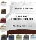 Sheets Pillowcases - DEEP POCKET 2100 COUNT BAMBOO SERIES 6 PIECE BED SUPER SOFT SHEET SET ALL SIZES