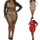Womens Plus Size Party Mesh Geometric Sequins Long Sleeve Bodycon Dress XL~3XL