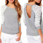Casual Womens Ladies Hollow Long Sleeve Tops Loose Blouse Ladies Lace T-Shirt R
