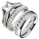 HIS & HERS 3 PIECE MENS WOMENS STAINLESS STEEL WEDDING ENGAGEMENT RING BAND SE