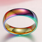 Hematite Titanium Steel Rainbow Colorful Rings Engagement Wedding Band Jewelry image