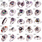 New Arrival Women Men Jewelry Rainbow & White Topaz Gems Silver Ring Size 6 - 13