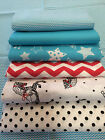 LOVELY black, white, red and turquoise 100% COTTON FABRIC dots, chevron, stars
