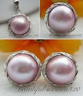 DM20 real 20mm pink south sea mabe pearl earring ring Pendant silver & gold
