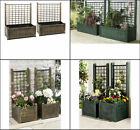 PAIR LARGE GARDEN PLANTERS PLASTIC BOX & TRELLIS PLANTER BRONZE GREEN  2 sizes