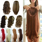 black hair with ombre red - US Mega Thick Half Wig Fall Clip In Hair Piece 3/4 Full Head Wig 1 Class Ship gg