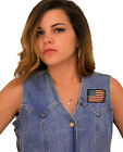 Ladies Denim Vest With Patriotic Distressed American Flag Patch 6 Pockets