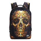 Mens Cool 3D Skull Backpack Teen Boys School Bag Travel Street Should Bags