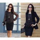 Women Crew Neck Chiffon Shirt Long Sleeve Polka Dot Print Slim Tops Blouse Hot