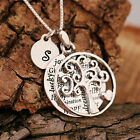 Sterling Silver Personalised Tree Of Life Heart Pendants Necklace & Initial Tag