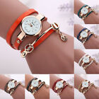 Fashion Women Leather Stainless Steel Bracelet Quartz Dress Wrist Watch NEW