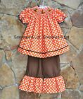 Smocked A Lot Dot Turkey Thanksgiving Orange Brown Ruffled Pants Outfit Dress