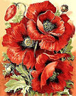 Red Poppy Flowers Hand Painted Design Needlepoint Canvas  H87