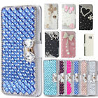 Bling Diamond Crystal Leather Flip Kickstand Wallet Card Case Cover for HTC