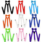 MATCHING BOWTIE AND SUSPENDERS Set Men's Clip-On Y Back Retro Costume Longer