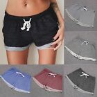 New Women Elastic Waist Mini Shorts Cotton Pure Color Loose Sports Pants EN24H