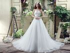 White/Ivory Organza A Line Weding Dress Bridal Gown US Size 4 6 8 10 12 14 16