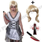 LADIES KILLER BRIDE DOLL HALLOWEEN HORROR SCARY FANCY DRESS COSTUME & WIG 10-14