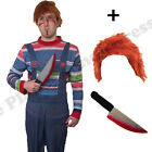 MENS HALLOWEEN KILLER DOLL FANCY DRESS COSTUME WIG & KNIFE ONE SIZE HORROR SCARY
