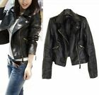 Vintage New Women Slim Biker Motorcycle PU Soft Leather Zipper Jacket Coat Top