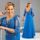 V Neck Lace Applique Mother Of The Bride Dress With 3/4 Sleeve Party Gowns W1843