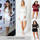Womens Floral Crochet Lace Long Sleeves Lined Bodycon Mini Ladies Dress