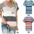 Colorful Women's Striped V-neck Casual Short Sleeve T-shirt Blouse Tees Tops