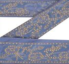 Vintage Sari Border Antique Hand Embroidered 1 YD Trim Sewing Purple Lace