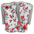 Women Ladies Long Sleeve Striped Floral Cotton Blouse T-shirt Casual Slim Tops