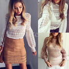 Sexy Women Ladies Lace Crochet Hollow Out Long Sleeve Shirt Casual Blouse Tops