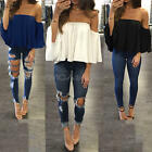 Fashion New Women Slim Off Shoulder Shirt Crop Tops Long Sleeve Blouse Chiffon