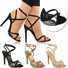 Womens Ladies Barely There High Heels Ankle Strappy Perspex Party Sandals Size