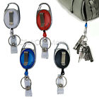 2 Pcs Retractable Pull Chain ID Holder Reel Recoil Key Ring Belt Clip